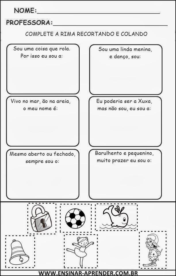 Atividades e Textos com Rimas para Alfabetização