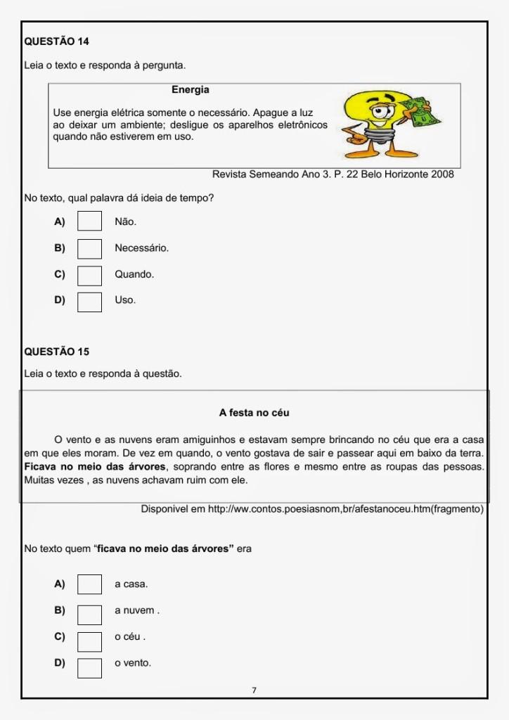 Avaliação diagnóstica de portuguêspara o 3 ano