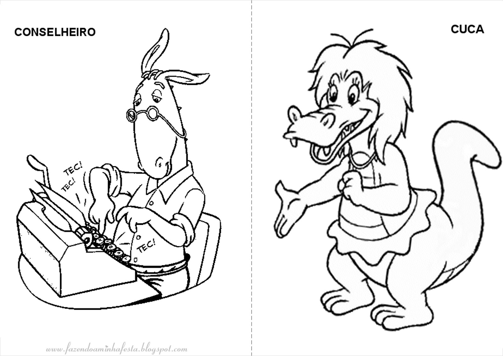 Personagens Do Sitio Do Picapau Amarelo Para Colorir