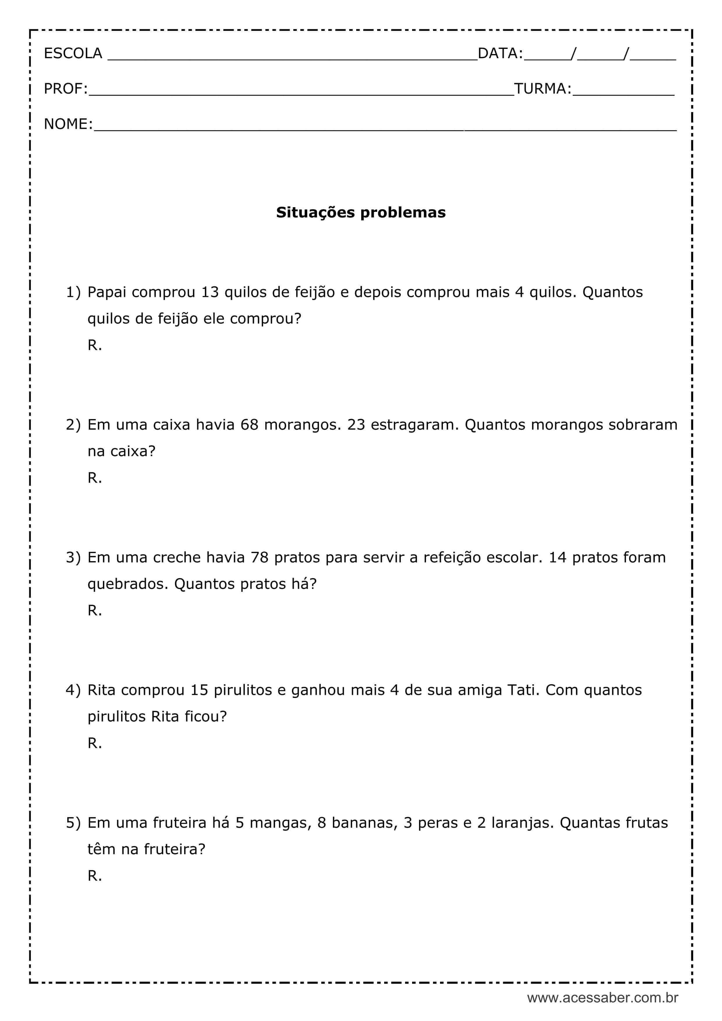 Atividades De Matematica Com Situacoes Problemas