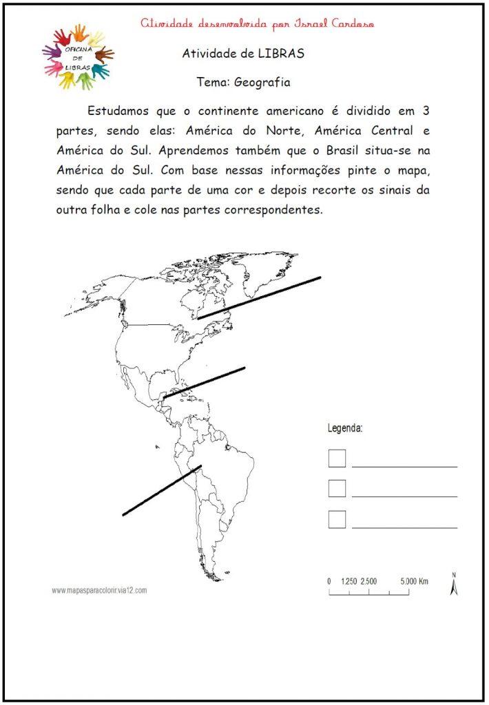 Atividades de Geografia em Libras para imprimir