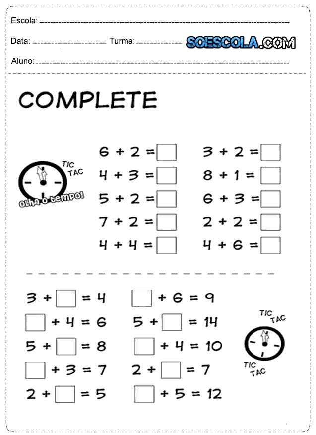 Atividade de Matemática 1º Ano: Números e Quantidades