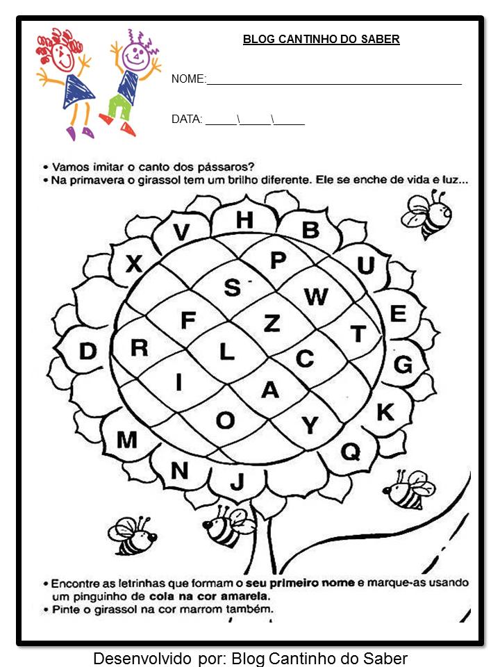 ATIVIDADES EDUCAÇÃO INFANTIL PARA A PRIMAVERA