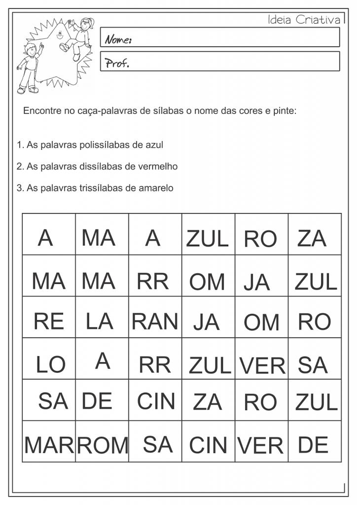 Atividades sobre Monossilaba, Dissilaba, Trissilaba e Polissilaba